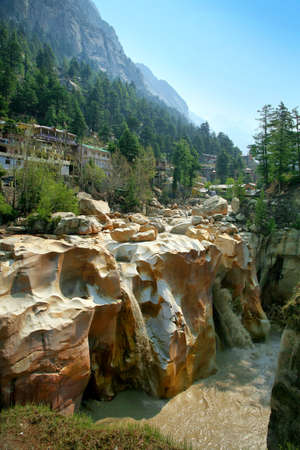 Suryakund waterfall of Ganges River flows across the Gangotri town. Uttarakhand. India.