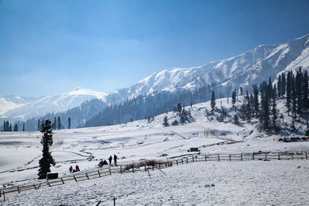 Snow Covered Himalayan Mountain Range seen from Gulmarg, Jammu and Kashmir, India 免版税图像