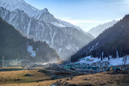Sonmarg Hill Station, Jammu and Kashmir, India 免版税图像