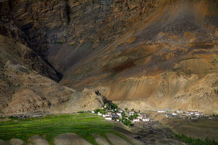 wide shot of Key monastery in barren hills at near Kaza Town, Spiti valley, Himachal Pradesh, India