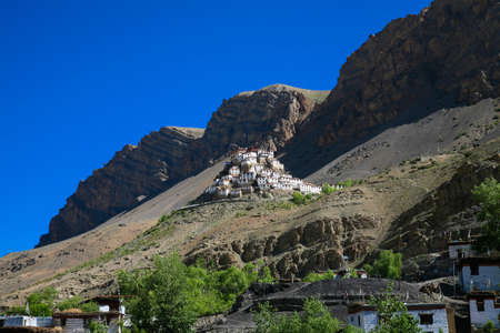 Rocky Fossiled dust colored badlands at Spiti valley, Himachal Pradesh, India. 스톡 콘텐츠