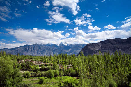 Mountain road and moon land (Moonland) view of Lamayuru at Ladakh, Jammu and Kashmir, India