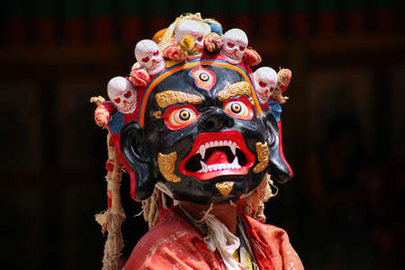 Buddhist mystery with the performance of Mask Dance in the Tibetan Hemis monastery in Leh, Ladakh, India