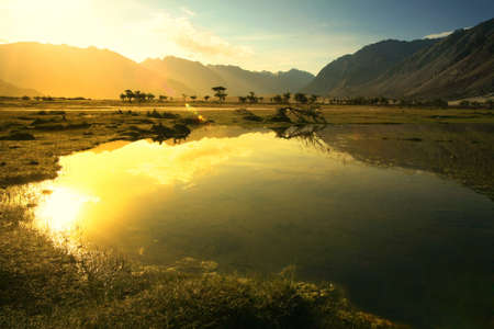 Shadow of four person at Hundar, Beautiful landscape of nubra valley in Leh, Ladakh. India.