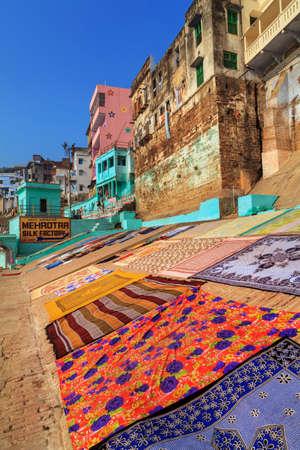 Ghats (Banks) on the Ganges River, Hindu holy city on Ganges Ganga, Varanasi, Banaras, Uttar Pradesh, India.