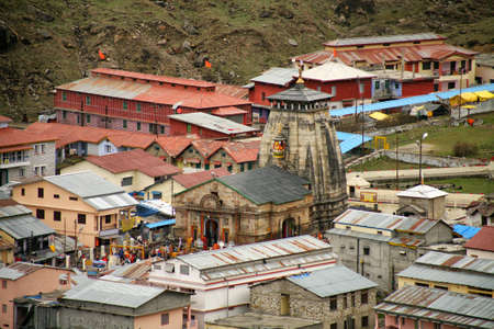 Aerial view, Kedarnath Temple is a Hindu temple dedicated to Lord Shiva, which located in the Garhwal Himalayas, India.