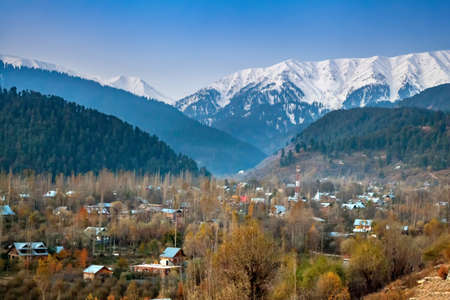 A picturesque view of a village near Gulmarg, Jammu and Kashmir, India