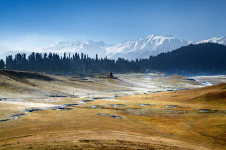 A panoramic view of Snow Covered Himalayan Mountains in Gulmarg, Jammu and Kashmir, India Stok Fotoğraf