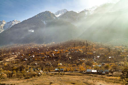 A village at the foothills of Himalayan Mountains near Sonmarg, Jammu and Kashmir, India