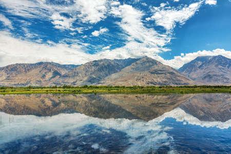 Reflection of mountains in Hundar, Nubra Valley, Leh Ladakh, India