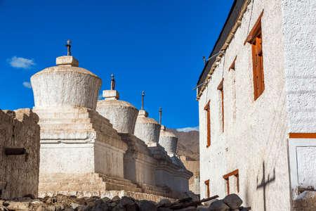 Thikse monastery whit a white stupas forground, Leh, Ladakh, india