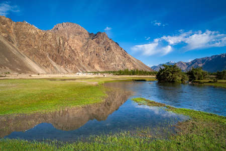 Beautiful landscape of nubra valley, A stream in Hundar, Nubra Valley. This is in Jammu and Kashmir province of northern India.
