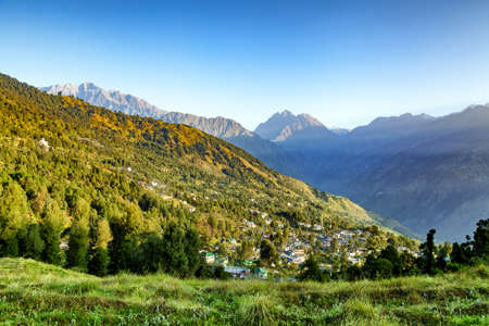 View of beautiful Panchchuli peaks and Munsiyari Town, Uttarakhand, India.