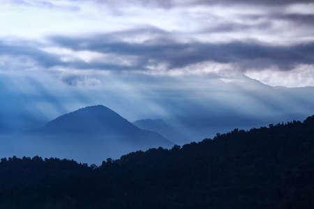 View of beautiful Panchchuli Peaks of the Great Himalayas as seen from Munsiyari, Uttarakhand, India.