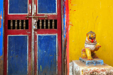 Creative front rural door at odisha, India 免版税图像