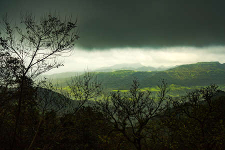 Beautiful view of green mountains at way to Mahabaleshwar, maharashtra, india.