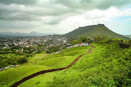 Beautiful view of green mountains and satara city at way to Mahabaleshwar, maharashtra, india.