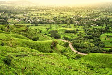Beautiful view of green mountains at way to Mahabaleshwar, maharashtra, india. Imagens