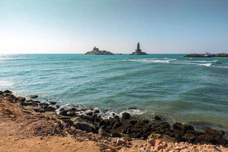 View of Swami Vivekananda Memorial rock and thiruvalluvar island in Kanyakumari, India