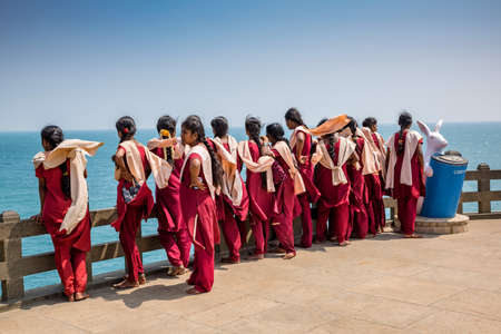 Kanyakumari, Tamil Nadu, India - February 11, 2017 : Group of teenage girls at kanyakumari