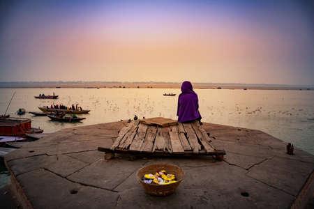 Morning activities at River Ganges during sunrise Varanasi, Banaras, Uttar Pradesh, India, Asia