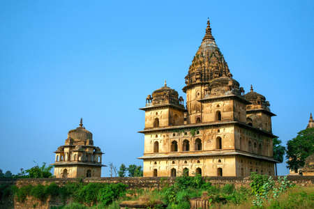 View of Royal cenotaphs (Chhatris) of Orchha, Madhya Pradesh, India.