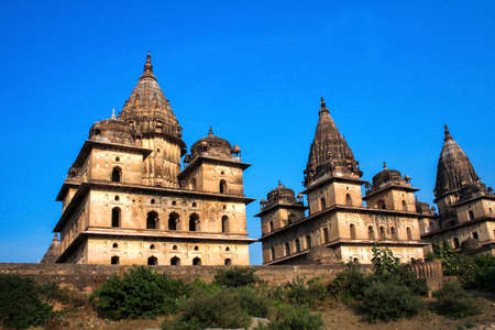 View of Royal cenotaphs (Chhatris) of Orchha, Madhya Pradesh, India.