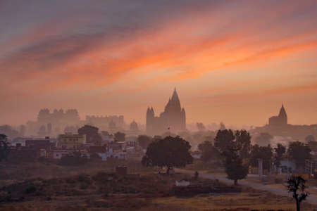 Long view of Orchha town - Chaturbhuj Temple, Orchha palace fort, Raja mahal and Cenotaphs (chhatris), view from Lakshmi Narayan temple,Orchha, Madhya Pradesh, India