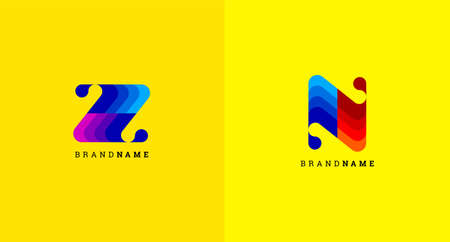 Abstract letter Z and N icon in colorful design style