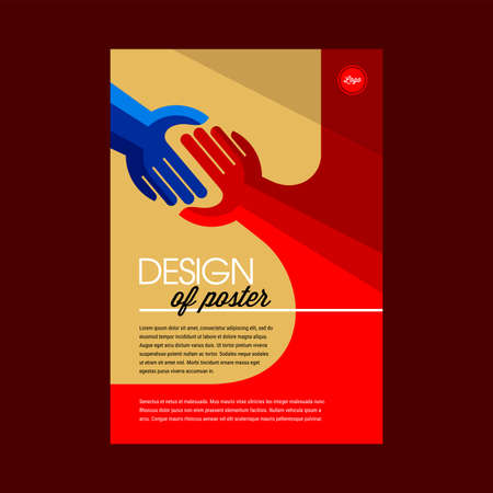 Vector illustration of hands reaching to each other. Poster Design Layout