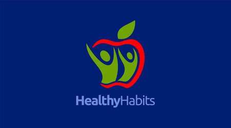 Healthy icon with apple and abstract figure, Apple health care vector template. 向量圖像