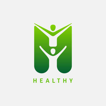 Abstract symbol with happy human. Sport, fitness, medical or health care center design concept 向量圖像
