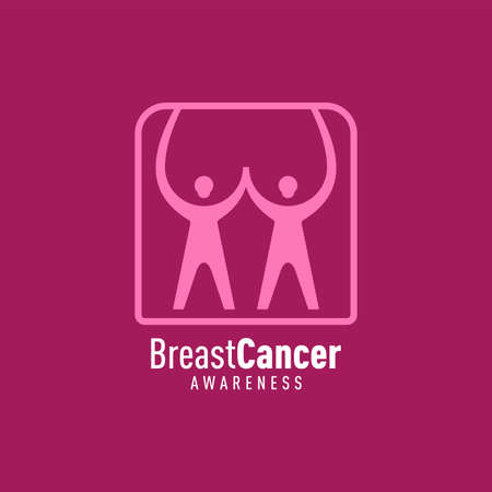 Breast cancer awareness hand people campaign over icon