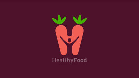 Healthy icon with carrot and abstract figure, Health care vector template. 向量圖像