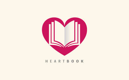Colorful for book club vector isolated. Read books together. Simple style, flat design of . Education concept. Heart shape, book lovers.