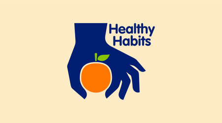 Healthy icon with orange and abstract figure, Health care vector logo template.