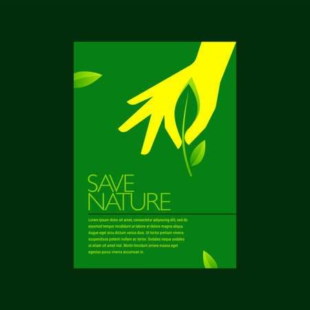 Vector sign environment friendly, hand and leaf. creative concept. 向量圖像