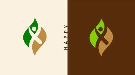 Healthy - vector template illustration. Man figure on leaves. Ecological and biological product concept sign.