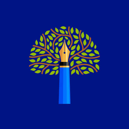Pen with tree Education Template vector illustration design