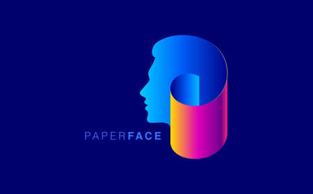 A man's face is made by folded paper, creative concept vector