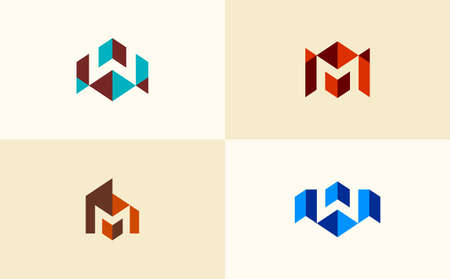 Letter M design. Concept for architecture corporate business or urban city skyline Real Estate. Vector Illustration