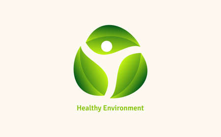 Healthy - vector template illustration. Man figure on leaves. Ecological and biological product concept sign. Ecology symbol. Human character icon. 向量圖像