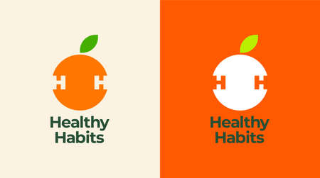 Healthy icon with orange and abstract figure, Health care vector template. 向量圖像