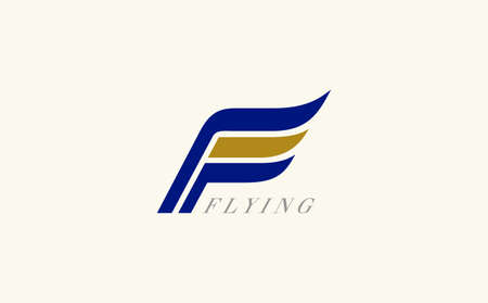 Letter F wing flag icon design template elements 向量圖像