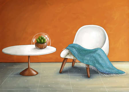 digital drawing of a retro interior white white and wooden furniture Stock Photo