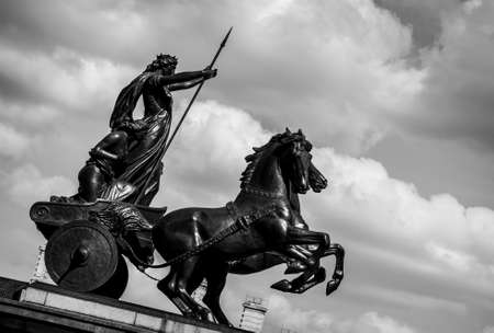 LONDON, UK - MAY 25, 2014: Queen Boudica Monument at Westminster Pier in Central London. Processed in black and white. Editorial