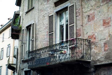 closeup of an old facade near Piazza Vecchia Bergamo in Bergamo, a town near Lake Como