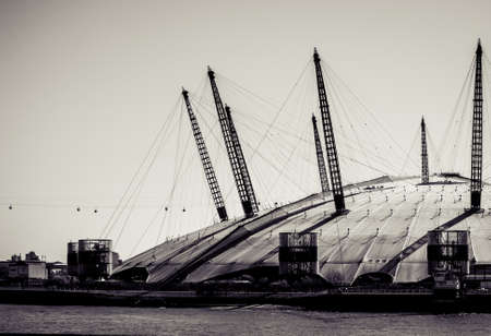 LONDON, UK - MARCH 16, 2014: The Millennium Dome, London't famous entertainment and shopping arena. Processed in black and white.