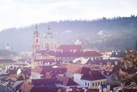 a morning photo of Prague, with St Charles Church dominating the view Stock Photo