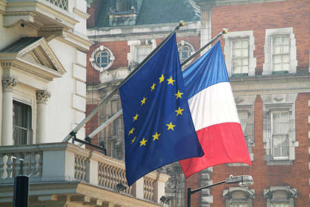the French and the EU flags photographed in central London
